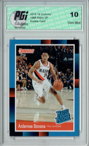 Anfernee Simons 2018 Donruss #RR22 1988 Rated Rookie Retro Rookie Card PGI 10