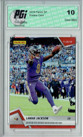Lamar Jackson 2018 Panini Instant #111 Just 92 Ever Made Rookie Card PGI 10