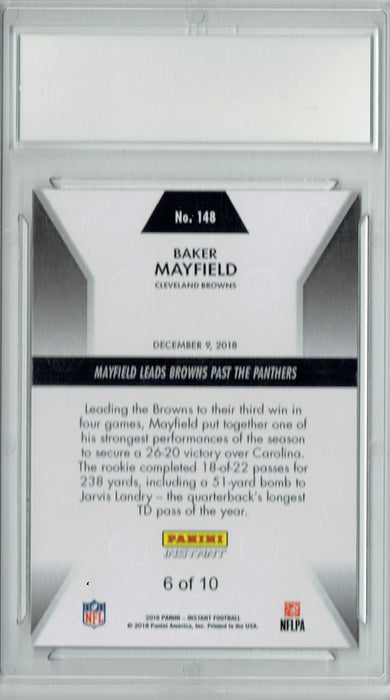 Baker Mayfield 2018 Panini Instant #148 #6/10 Jersey Number Rookie Card PGI 10