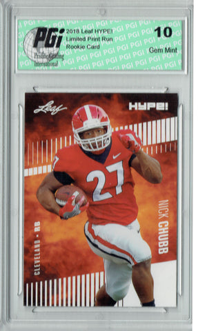Nick Chubb 2018 Leaf HYPE! #9 - 10) Rookie Card Lot, All Graded PGI 10