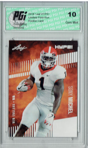 Sony Michel 2018 Leaf HYPE! #7 Only 5000 Made Rookie Card PGI 10