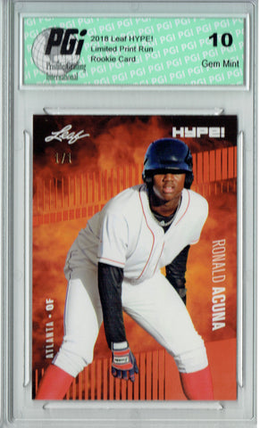 Ronald Acuna 2018 Leaf HYPE! #1 Masterpiece True 1 of 1 Rookie Card PGI 10