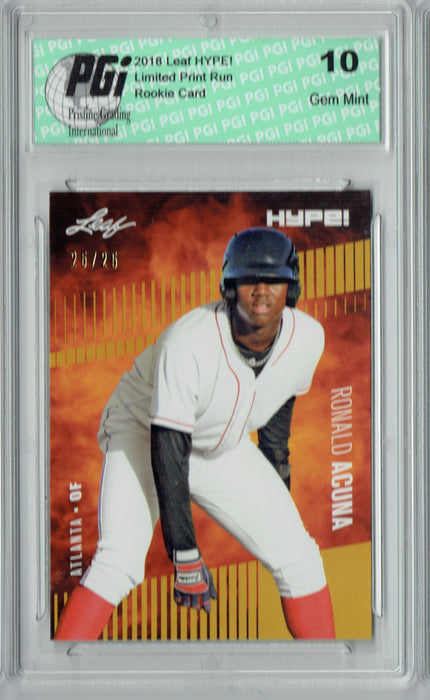 Ronald Acuna 2018 Leaf HYPE! #1 Gold SP, Only 25 Made Rookie Card PGI 10