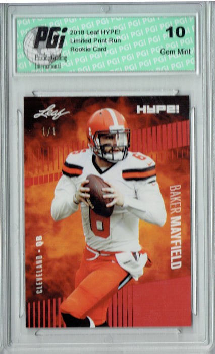 Baker Mayfield 2018 Leaf HYPE! #3A Red Blank Back 1 of 1 Rookie Card PGI 10