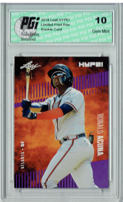 Ronald Acuna 2018 Leaf HYPE! #1A Purple Blank Back 1 of 1 Rookie Card PGI 10