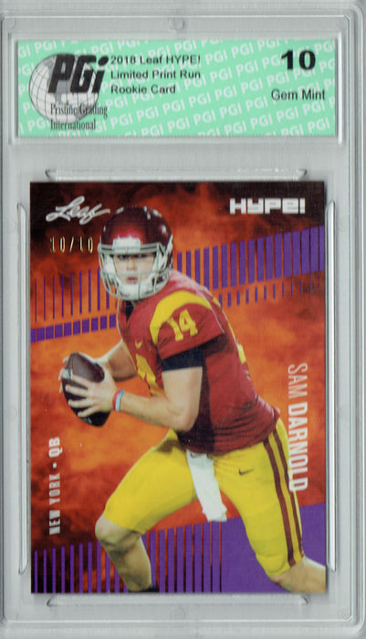 Sam Darnold 2018 Leaf HYPE! #4 Purple SP, Just 10 Made Rookie Card PGI 10