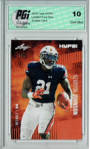 Kerryon Johnson 2018 Leaf HYPE! #14 Orange Blank Back 1/1 Rookie Card PGI 10