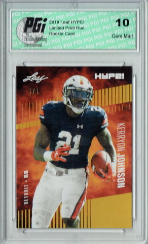 Kerryon Johnson 2018 Leaf HYPE! #14 Gold Blank Back 1 of 1 Rookie Card PGI 10