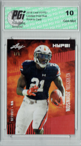 Kerryon Johnson 2018 Leaf HYPE! #14 Red Limited to 5 Made Rookie Card PGI 10