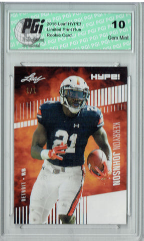 Kerryon Johnson 2018 Leaf HYPE! #14 White Blank Back 1 of 1 Rookie Card PGI 10