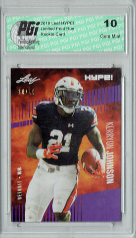 Kerryon Johnson 2018 Leaf HYPE! #14 Purple SP, Just 10 Made Rookie Card PGI 10