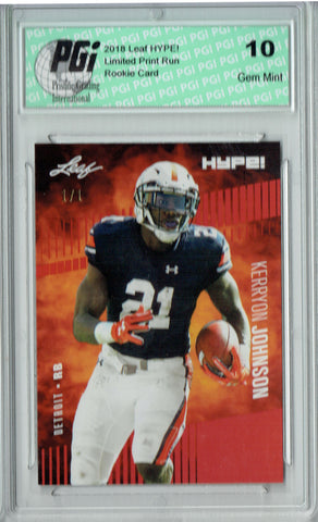 Kerryon Johnson 2018 Leaf HYPE! #14 Red Blank Back 1 of 1 Rookie Card PGI 10