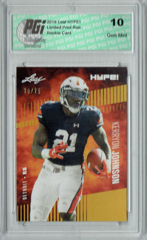Kerryon Johnson 2018 Leaf HYPE! #14 Gold SP, Only 25 Made Rookie Card PGI 10