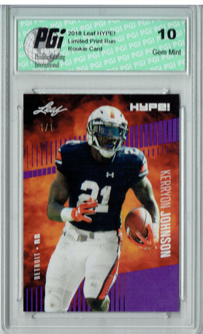 Kerryon Johnson 2018 Leaf HYPE! #14 Purple Blank Back 1/1 Rookie Card PGI 10