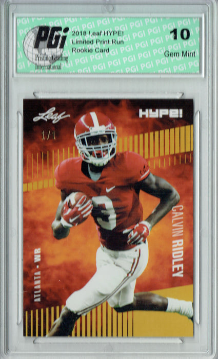 Calvin Ridley 2018 Leaf HYPE! #8 Gold Blank Back 1 of 1 Rookie Card PGI 10