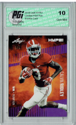 Calvin Ridley 2018 Leaf HYPE! #8 Purple Blank Back 1 of 1 Rookie Card PGI 10