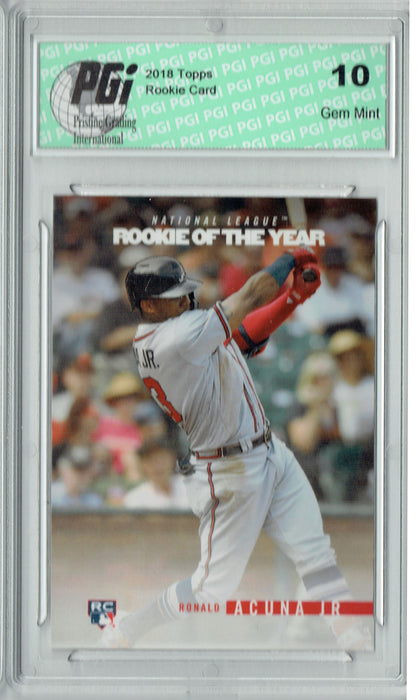 Ronald Acuna 2018 Topps Rookie of the Year #ROTY7 SP Rookie Card PGI 10