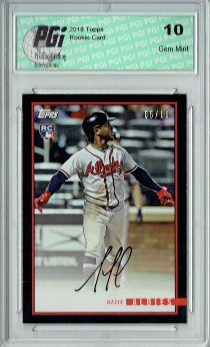 Ozzie Albies 2018 Topps Rookie Review #6C Black SSP 10 Made Rookie Card PGI 10
