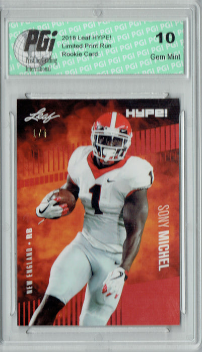 Sony Michel 2018 Leaf HYPE! #7 Jersey #1/5 Rookie Card PGI 10
