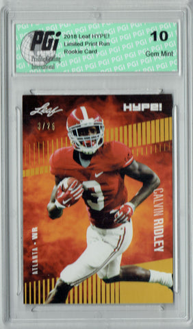 Calvin Ridley 2018 Leaf HYPE! #8 Jersey #3 of 25 Rookie Card PGI 10