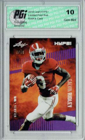 Calvin Ridley 2018 Leaf HYPE! #8 Jersey #3 of 10 Rookie Card PGI 10