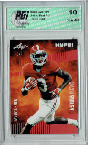 Calvin Ridley 2018 Leaf HYPE! #8 Jersey #3 of 5 Rookie Card PGI 10