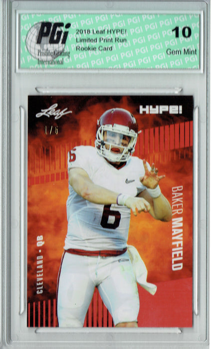 Baker Mayfield 2018 Leaf HYPE! #3 The #1 of 5 Rookie Card PGI 10