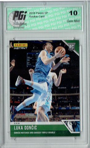 Luka Doncic 2018 Panini Instant #97 Green SP, 10 Made Rookie Card PGI 10