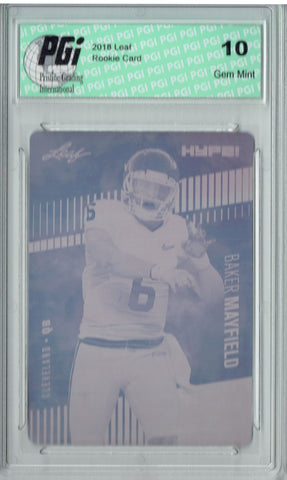 Baker Mayfield 2018 Leaf HYPE! #3 Rare Black Plate 1 of 1 Rookie Card PGI 10