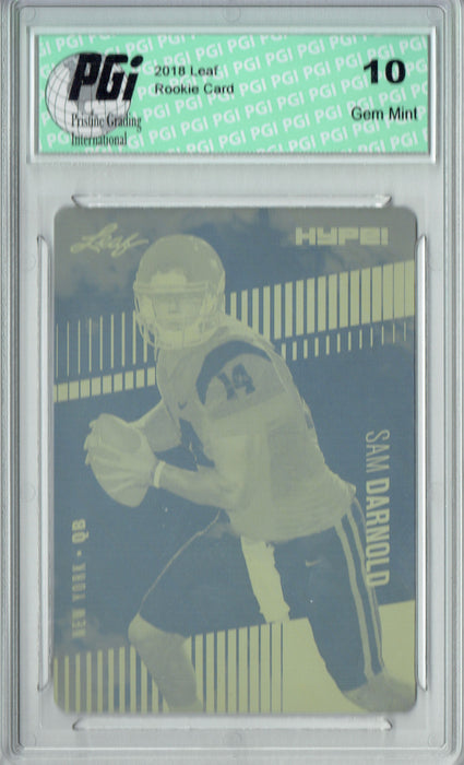 Sam Darnold 2018 Leaf HYPE! #4 Rare Yellow Plate 1 of 1 Rookie Card PGI 10