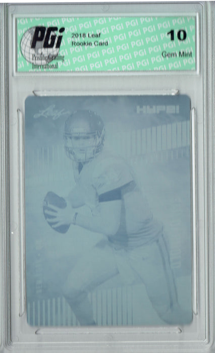 Sam Darnold 2018 Leaf HYPE! #4 Rare Cyan Plate 1 of 1 Rookie Card PGI 10