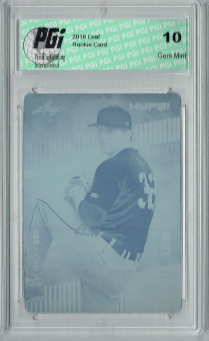 Casey Mize 2018 Leaf HYPE! #11 Rare Cyan Plate 1 of 1 Rookie Card PGI 10