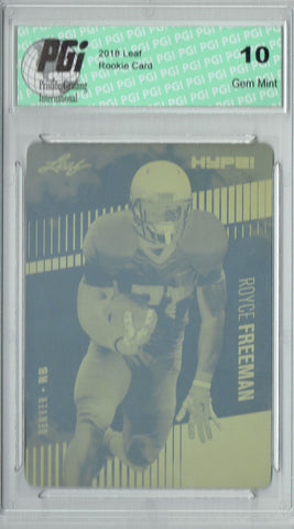 Royce Freeman 2018 Leaf HYPE! #13 Rare Yellow Plate 1 of 1 Rookie Card PGI 10
