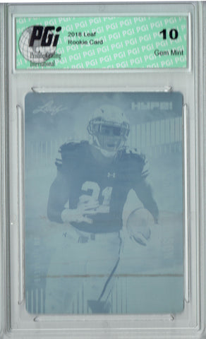 Kerryon Johnson 2018 Leaf HYPE! #14 Rare Cyan Plate 1 of 1 Rookie Card PGI 10