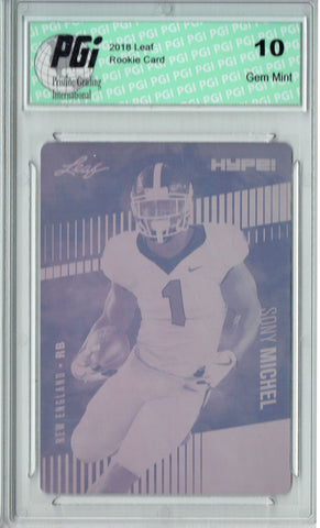 Sony Michel 2018 Leaf HYPE! #7A Rare Magenta Plate 1 of 1 Rookie Card PGI 10