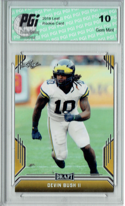 Devin Bush II 2019 Leaf Draft #21 Gold SP Rookie Card PGI 10