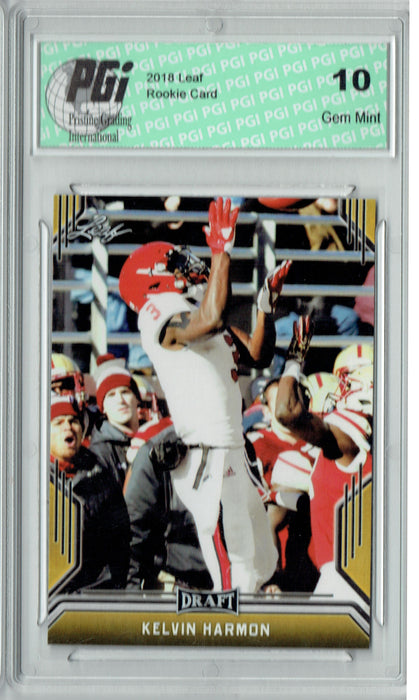 Kelvin Harmon 2019 Leaf Draft #46 Gold SP Rookie Card PGI 10