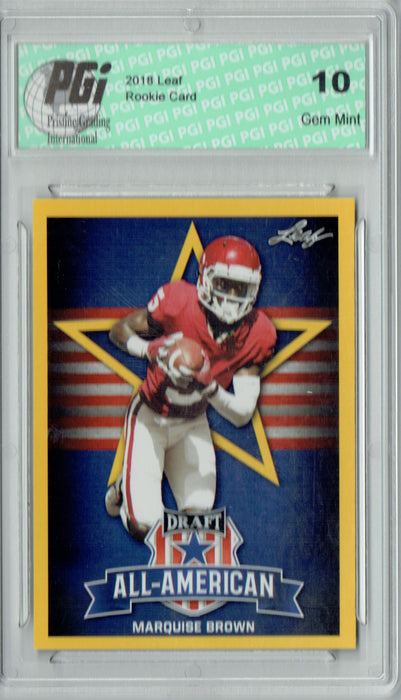 Marquise Brown 2019 Leaf Draft #78 All-American Gold SP Rookie Card PGI 10