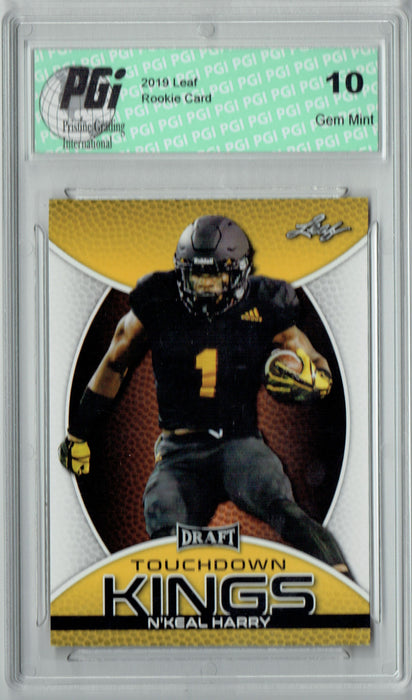 N'Keal Harry 2019 Leaf Draft #90 Touchdown Kings Gold SP Rookie Card PGI 10