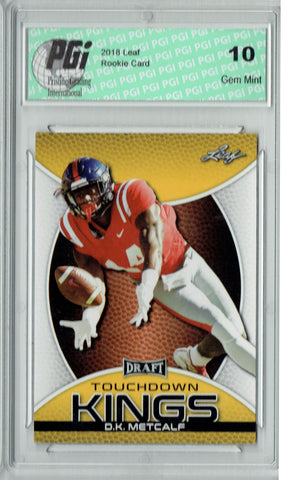 D.K. Metcalf 2019 Leaf Draft #86 Touchdown Kings Gold SP Rookie Card PGI 10