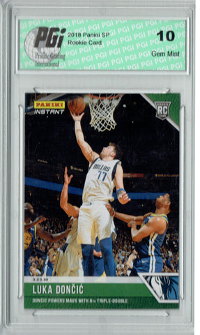 Luka Doncic 2018 Panini Instant #124 Green SSP Only 10 Made Rookie Card PGI 10