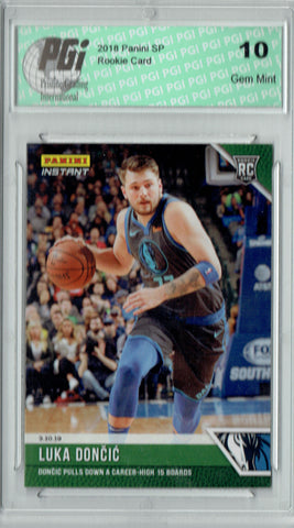 Luka Doncic 2018 Panini Instant #118 Green SSP Just 10 Made Rookie Card PGI 10