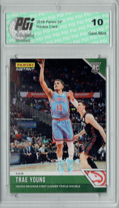Trae Young 2018 Panini Instant #117 Green SP, 10 Made Rookie Card PGI 10