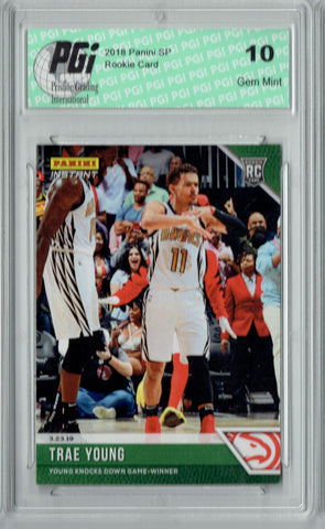 Trae Young 2018 Panini Instant #123 Green SP, 10 Made Rookie Card PGI 10