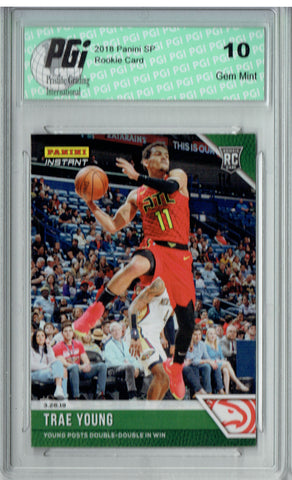 Trae Young 2018 Panini Instant #126 Green SP, 10 Made Rookie Card PGI 10