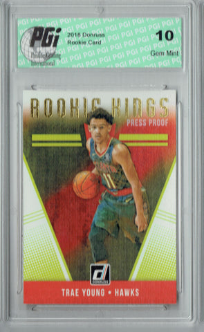 Trae Young 2018 Donruss #24 Gold Rookie Kings SP Rookie Card PGI 10