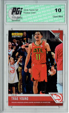 Trae Young 2018 Panini Instant #130 1 of 85 Made, SP Rookie Card PGI 10