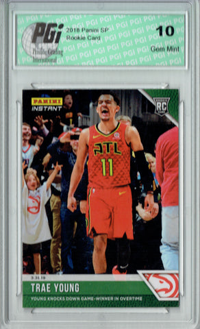 Trae Young 2018 Panini Instant #130 Green SSP, Just 10 Made Rookie Card PGI 10