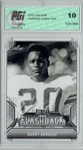Barry Sanders 2019 Leaf Draft #01 Flashback Rookie Card PGI 10