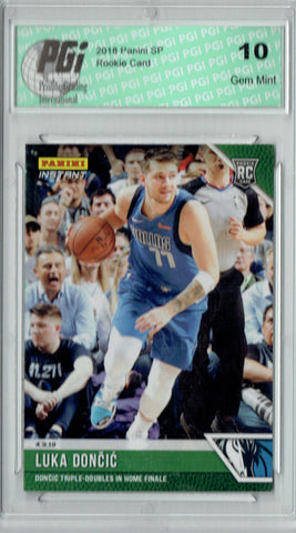 Luka Doncic 2018 Panini Instant #134 Green SP Only 10 Made Rookie Card PGI 10